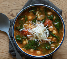 Tuscan Chickpea, Spinach Orzo Soup