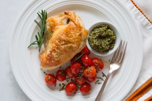 Oven-Roasted Chicken with Pecan Pesto