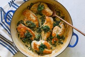 Skillet Chicken with Spinach Cream Sauce