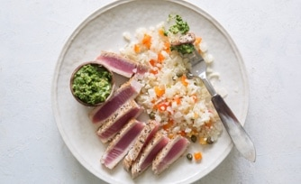 Seared Ahi Tuna with Chimichurri with Cauli-Rice