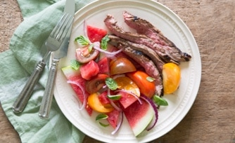 Grilled Steak with Tomato-Watermelon Salad