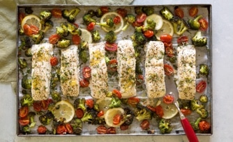 Sheet Pan-Roasted Fish with Broccoli and Tomatoes