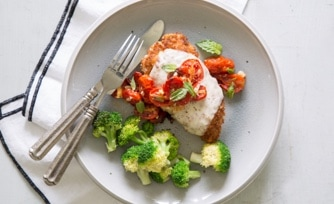 Chicken Parmigiana with Roasted Tomato Sauce and Broccoli