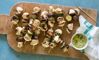 Grilled Chicken Kabobs with Asparagus, and Tomato Toss