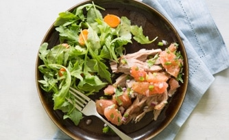 Pork Roast with Grapefruit Salsa and Arugula and Carrot Salad