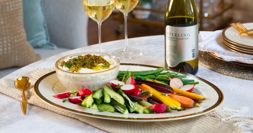 Whipped Feta Dip with Pistachio-Mint Pesto and Vegetables