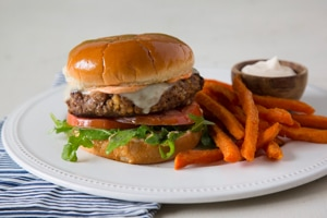 Roasted Red Pepper Hummus Burgers